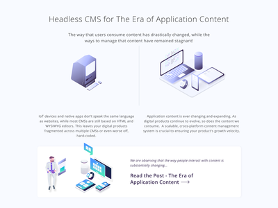 GraphCMS Homepage Redo web deisgn data analysis homepage design content management system api technology isometric illustration figma