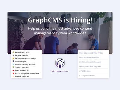 GraphCMS is Hiring! hiring graphic graphcms hiring figma