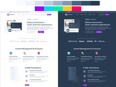 Website color palette exploration rebranding dark mode website web design product illustration graphql graphcms figma