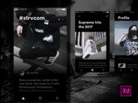 Adobe XD Exploration - Urban Fashion Lifestyle App black and white adobe xd user interface ios10 dark minimal feed profile ux ui application mobile