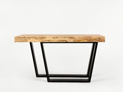 Small Coffee Table woodworking spalted maple steel wood furniture
