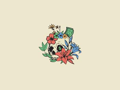 Logo for Dollars & Details botanical skull logo skull art app icon vector illustration design logo