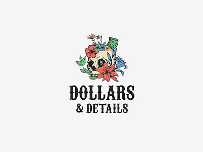 Logo for Dollars & Details botanical dollars skull art app icon vector typography illustration design logo