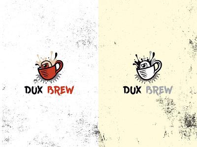 Logo for Dux Brew splash coffee brew coffee shop angry bar eye coffee cup icon vector typography illustration design logo