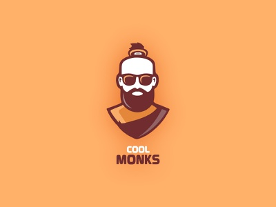 Logo for Cool Monks beard glasses monk monks cool young people stories clothing brand branding icon vector typography illustration design logo