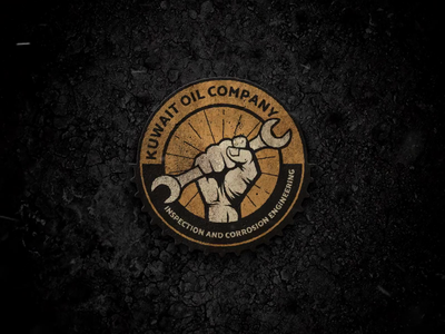 Logo for Oil Company powerfully worker strong fist hand teams kuwait inspection round logo oil company brand logo company icon web illustration design logo