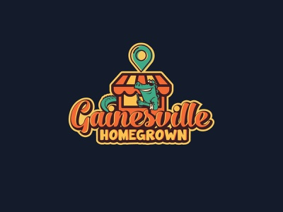 """Logo for """"Buy Local"""" local business pin homegrown gainesville aligator crocodile colorful company icon typography illustration design logo"""
