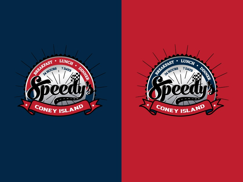 Logo for Speedy's round logo road flag color palette restourant racing logo icon coney island colorful vector typography illustration design logo