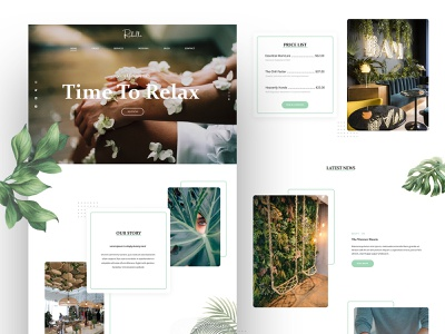 Rebelle Landing Page Design relaxing spa natural minimal web design ui ux