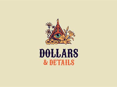 Logo for Dollars & Details botanical art eye dollars icon typography illustration design logo
