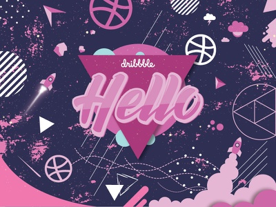 Hello Dribbble! space illustration shot first invite hello debut