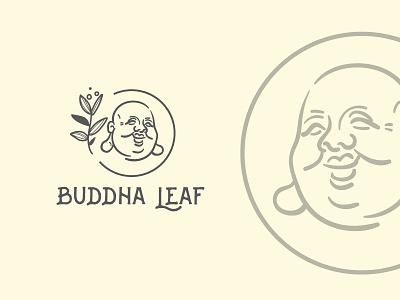 Logo for Buddha Leaf advertising natural leaf buddha vector typography design illustration logo