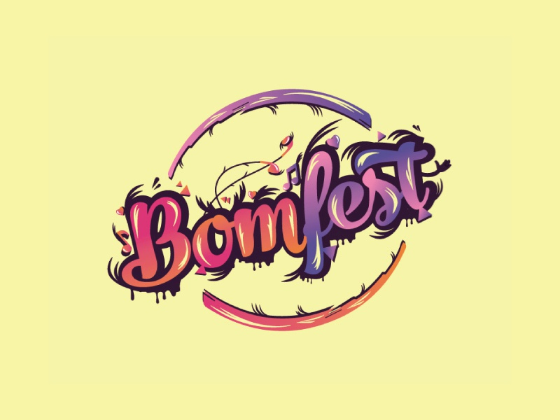 Logo for Bomfest vector music festival typography illustration web agency design logo