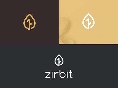 Logo for Zirbit yoga company leaf wooden vector natural web typography design logo