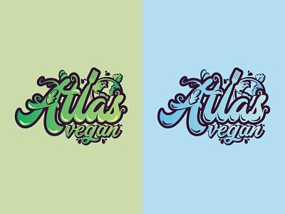 Logo for Atlas Vegan food  drink atlas vegan natural web vector typography illustration design logo