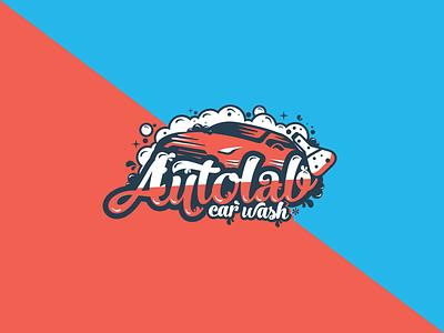 Logo for Autolab bubbles colorful shampoo laboratory car automobile icon ux ui web vector typography illustration design logo