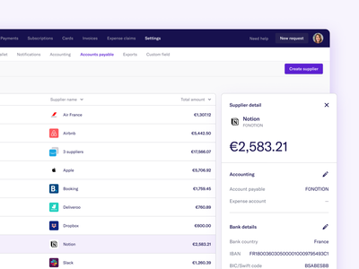 Spendesk new 'Accounts Payable' page ux  ui startup components data table table finance fintech ui design clean design systems website dashboard design web interface product ux app ui