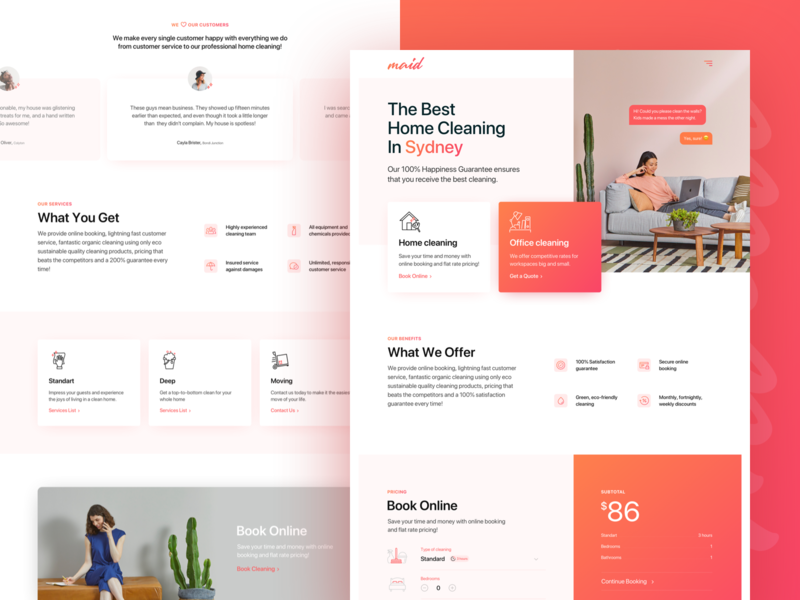 Australian cleaning company minimal website ui ux typography branding design