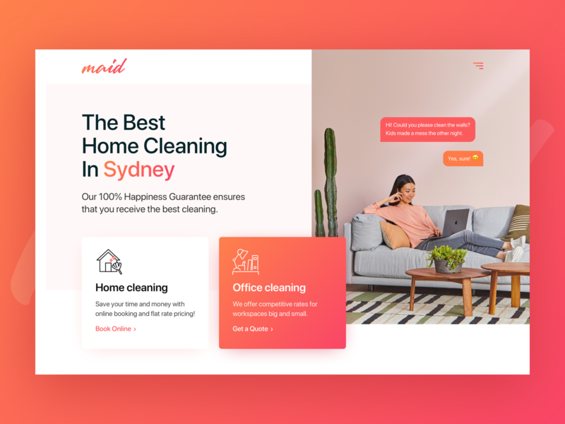 Cleaning company landing page typography sketchapp minimal ux ui branding design