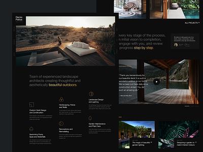 Decks&Patios dark ui webdesign homepage typography minimal branding design sketchapp ux ui