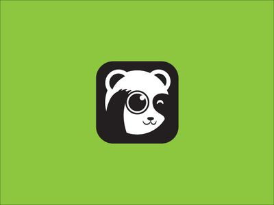 Camera Panda animal modern abstract playful mascot icon vector logo