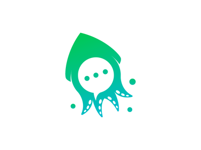 SquidChat design animal modern abstract playful mascot icon vector logo