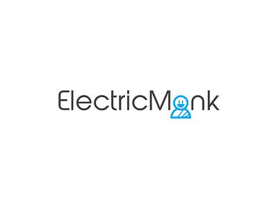 Electric Monk design flat fun modern abstract playful mascot icon vector logo