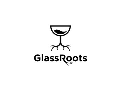 GlassRoots wine glass trees roots cocktail modern playful vector logo