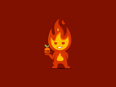 Organic Fast Food Fire Mascot organic fastfood illustration flat fun modern playful mascot logo vector