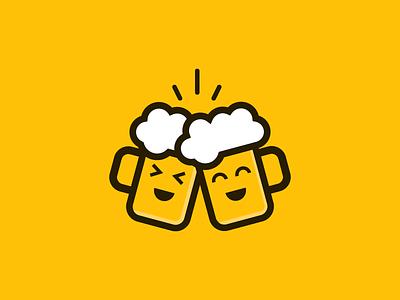 BeerCheers beer modern playful abstract mascot vector logo