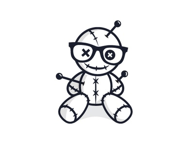 Geek Voodoo branding dolls voodoo fun modern playful mascot icon vector logo