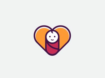 Babylove Logo abstract baby fun modern playful mascot