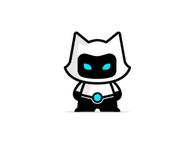 Robo Cat animal robot abstract vector logo flat fun modern playful mascot