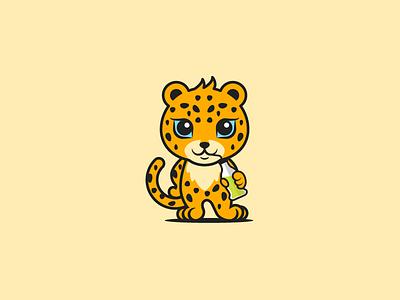 Drinking Jaguar illustration flat fun animal modern playful mascot icon vector logo