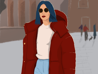 Right jacket for the weather red lady winter illustrator illustration
