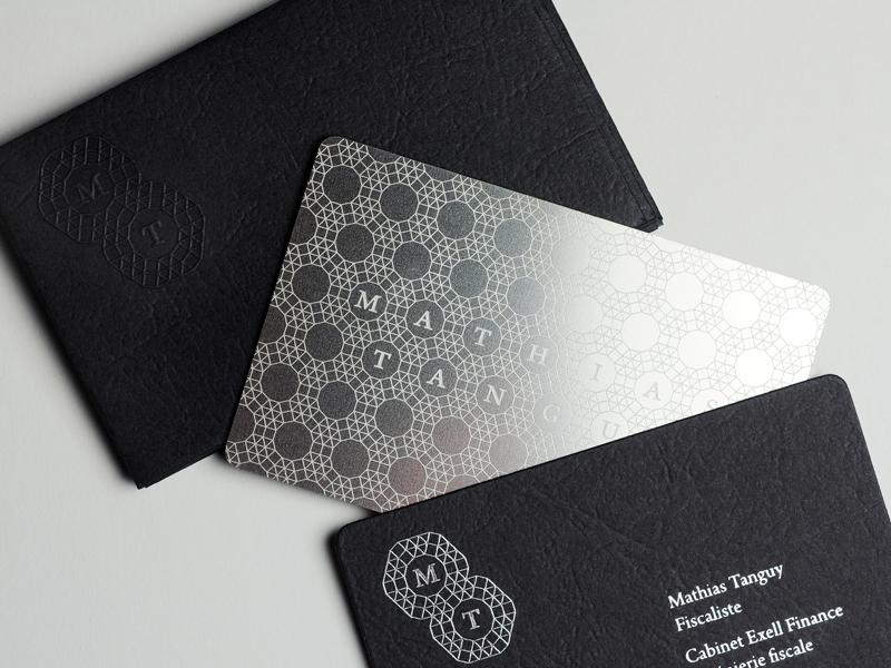 Mathias Tanguy Business Cards logo envelope embossing business card branding print metal etching foil blocking hot foil stamping pattern