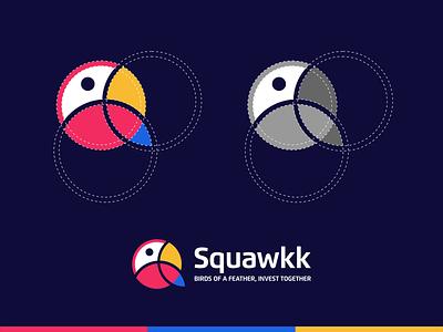SQUAWKK logoroom logo awesome logo art applogo bird logo icon parrot logo aplication logo designer logoplace logoshift dribble behance logo