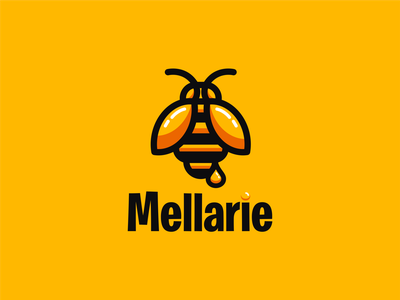 MELLARIE logoawesome logo art bee logo bee honey logoroom icon brand identity honey logo app logoshift abstract logo dribbble logodesign behance