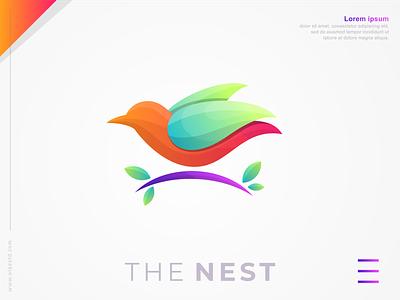 THE NEST brand identity logos abstract modern icon nest logoshift bird logo colorful design bird awesomelogo logo design behance dribble