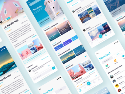 Travel Discovery App Design queble branding ux ui ios flat design app tour tourism discovery travel