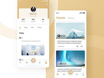 Vlog App Design queble interface flat interface design branding ux ui design app vlog
