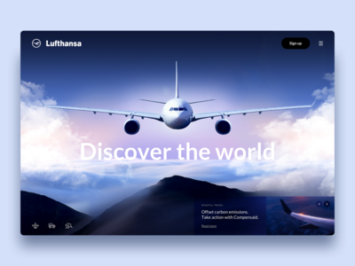 Lufthansa Redesign - Website Concept travel nature discovery colors website webdesign mountain landing clean minimal airbus design construction typogaphy ux ui grid web plane air