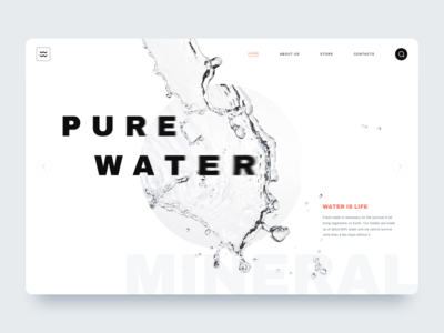 Water - Landing page glitch grid product white web website portfolio typogaphy fonts page minimalistic water minimal landing logo interface homepage design clean ui