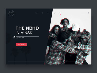The Neighbourhood - Page Concept website web ux ui typography trend music minimalistic minimal logo landing interface grid glitch design covers clean branding black band