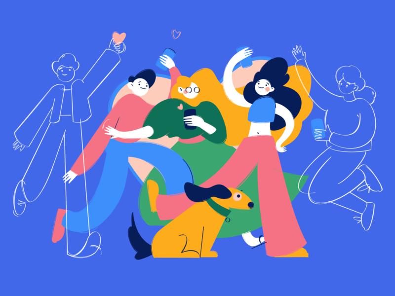 App lovers 💖 people notification phone social girl women heart dog friends character mobile line procreate illustration art design color app vector man love