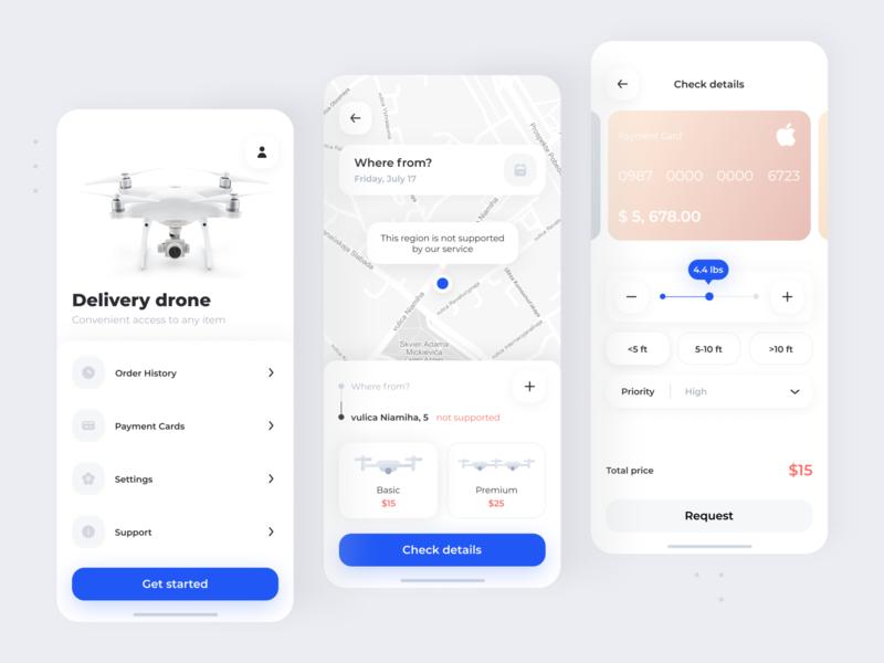 Drone Delivery App - UI Concept uiux portfolio minimalistic clean white future drones tracking request map minimal ios interface cards mobile payment rent ux ui app