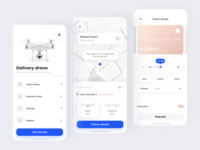 Drone Delivery App - UI Concept uiux portfolio minimalistic clean white future drones tracking request map minimal ios interface cards mobile payment rent ux ui app