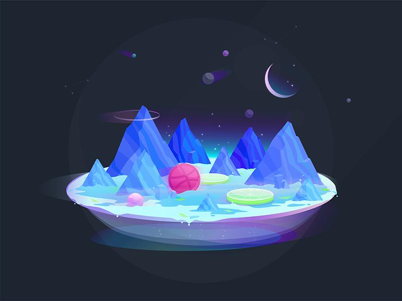 Hello Dribbble! space gradient illustration galaxy planet space design hello-dribbble debut