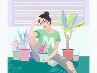 Girl with plants