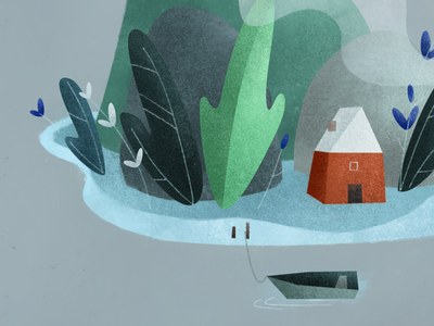 Fragment village texture stone lake plant island boat vector house forest children cartoon character illustration